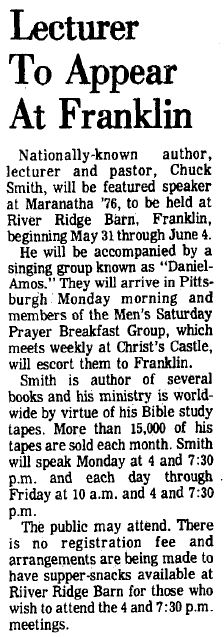 Daniel Amos Franklin PA Article, 1976